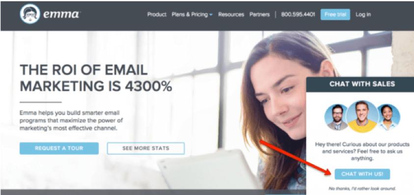 chat bot on emma website