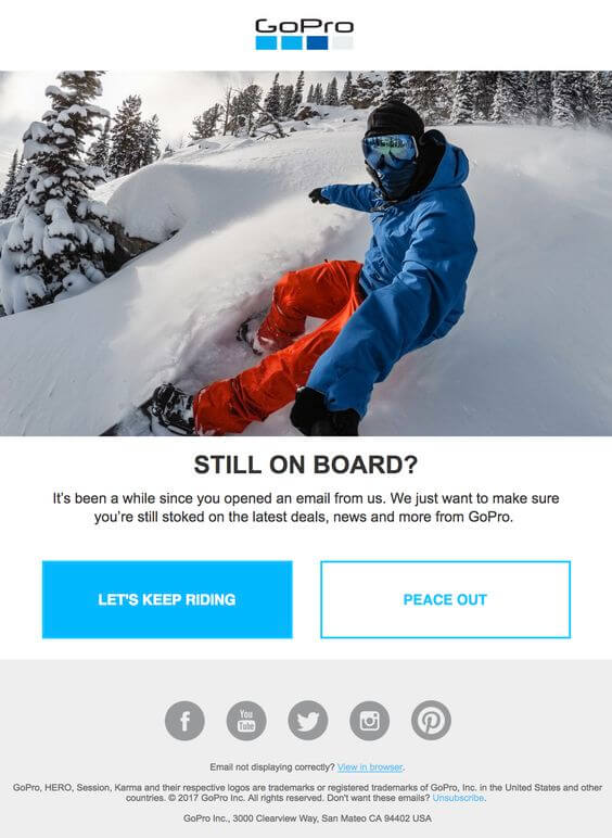GoPro's email example