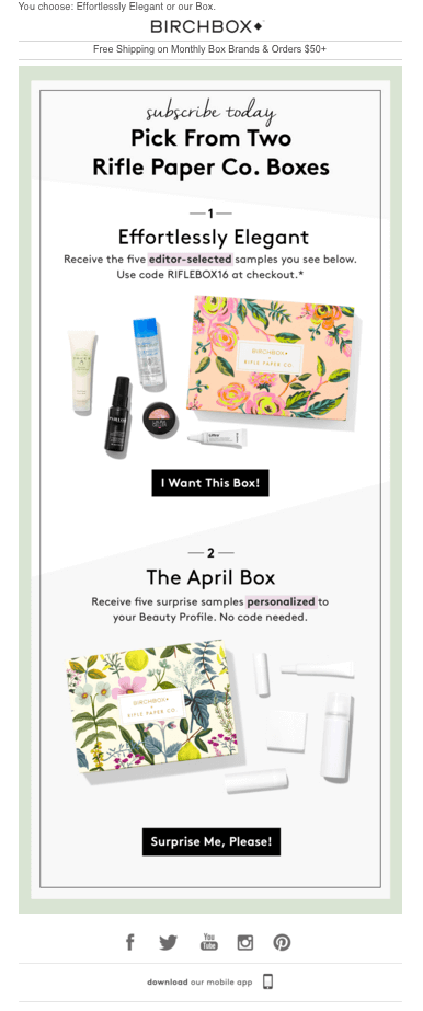 Birchbox offers editor-selected samples