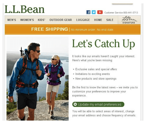 L.L. Bean lets subscribers easily - email