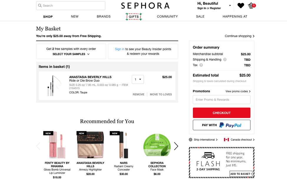 sephora website personalization message