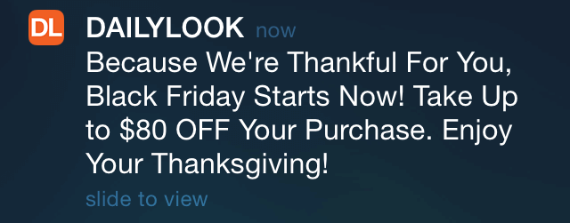 Black Friday push notification example
