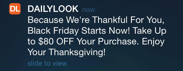 Black Friday push notification example