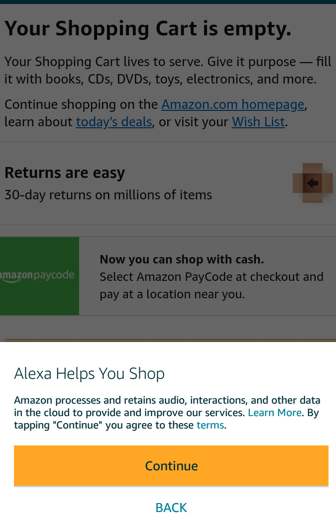 in-app messages on amazon