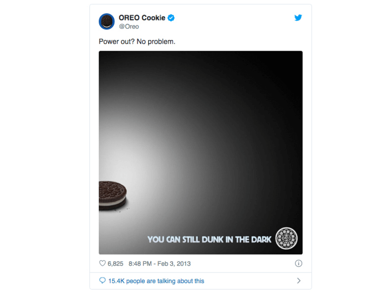 oreo super bowl ad moment marketing example