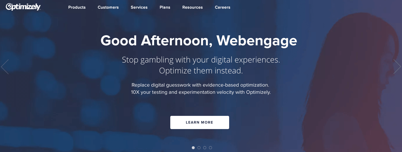 optimizely website personalization example