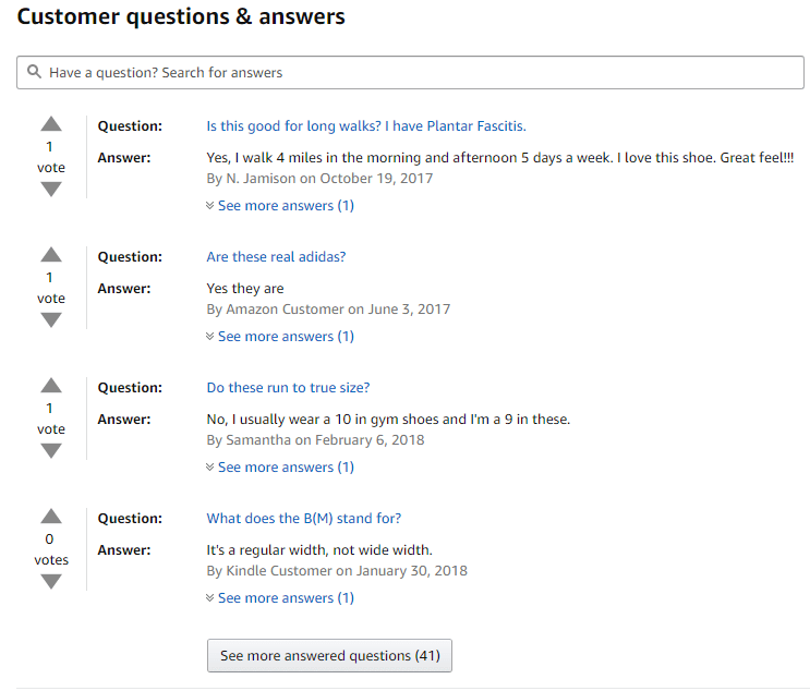 Customer Q&A section on Zappos website