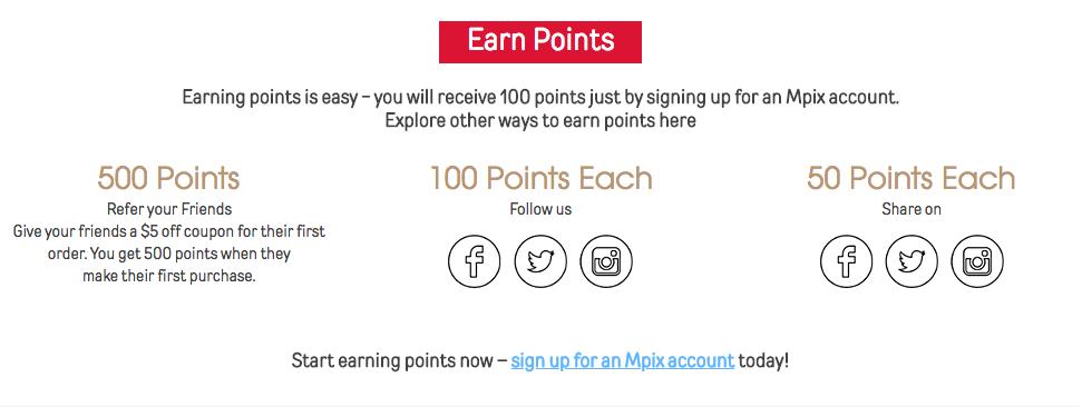 Mpix Earn Reward Points Example