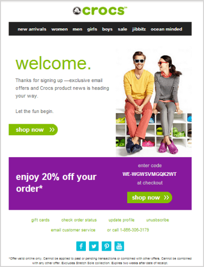 real time on-boarding email example by Crocs
