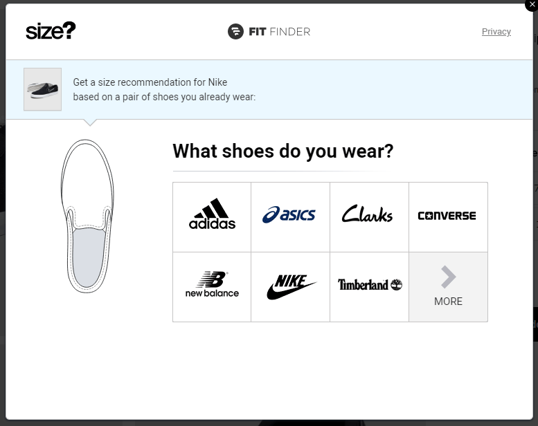 shoes website fit finder - what shoes do you wear example