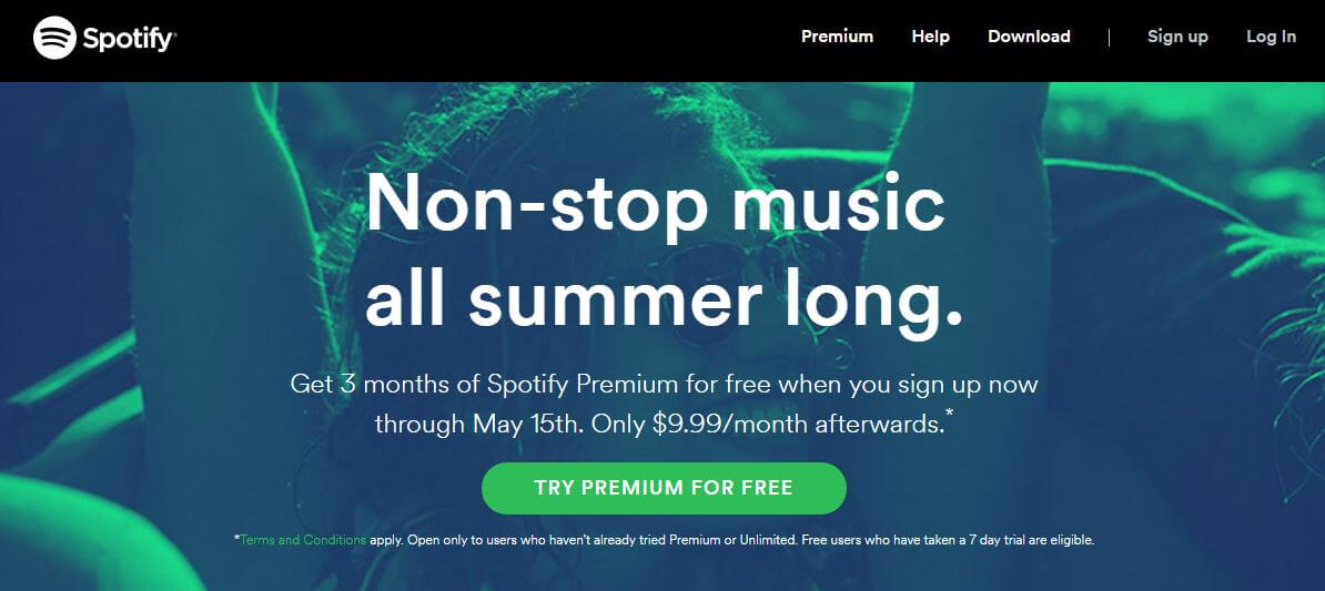 Spotify CTR for free premiun subscription