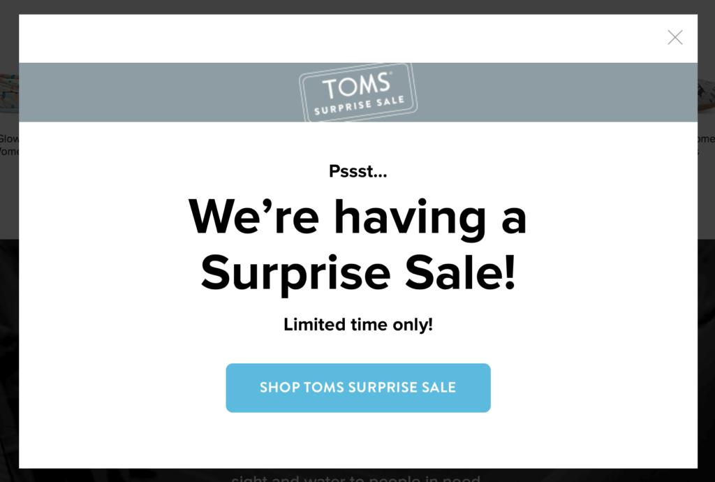 Surprise Sale CTA by Tom's