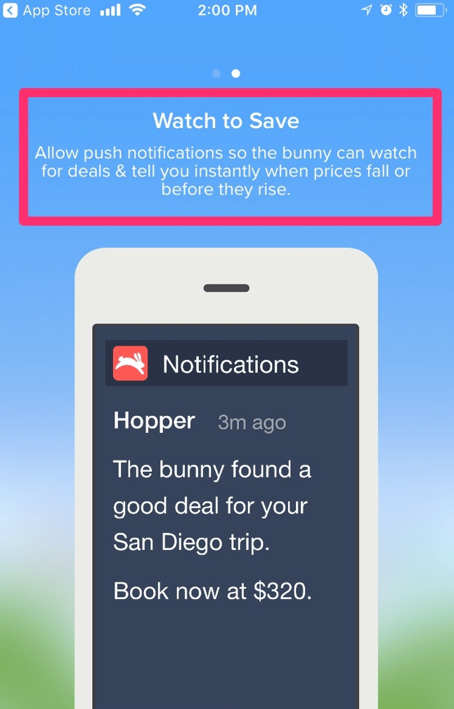 hopper mobile notification personalized offer for user