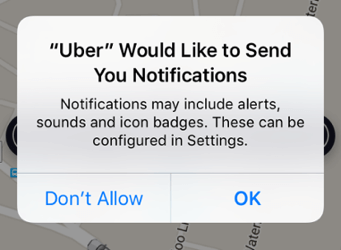 uber push notification for on-boarding customers